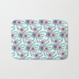 Bluegreen flower pattern Bath Mat
