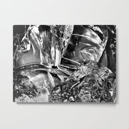 Black White Ice Abstract Metal Print