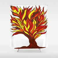 murakami Shower Curtains featuring The flame tree by Marcy Murakami