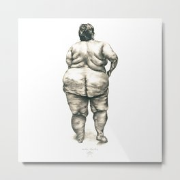mujer en la ducha Metal Print