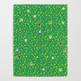 animal crossing cute grass pattern Poster