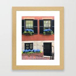 Blue Hydrangeas on Brownstone Framed Art Print
