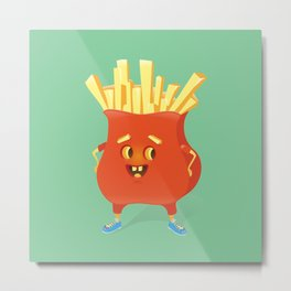 Happy French Fries Metal Print