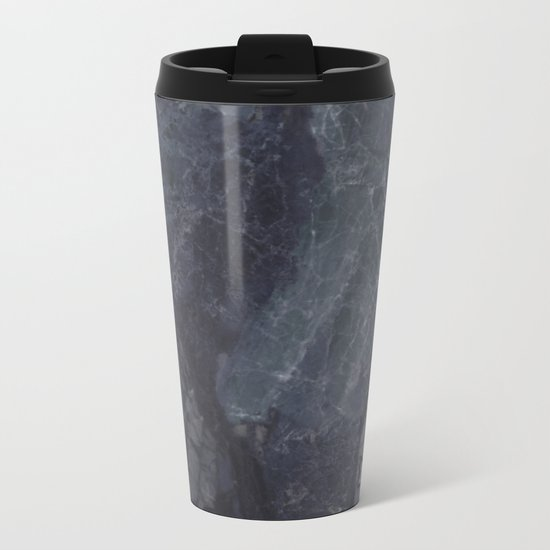 Navy Blue Marble Metal Travel Mug