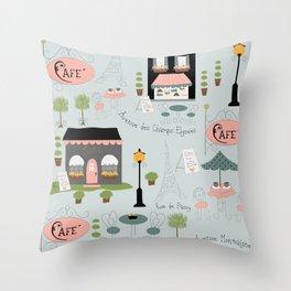 Paris cafes Throw Pillow