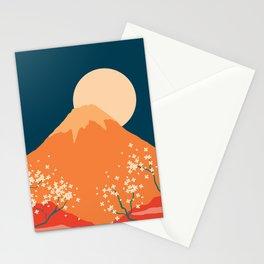 Japanese Mount Fuji Retro Pop Art Landscape Stationery Cards