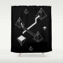 Black Space Pyramids Shower Curtain