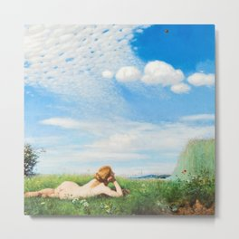 Skylark - Reclining Nude in Field of Poppies & Wildflowers landscape painting by Pál Szinyei Merse  Metal Print