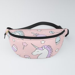 pattern background unicorn, candy, lollipop, ice cream, stars Fanny Pack