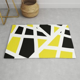 Abstract Interstate  Roadways Black & Yellow Color Rug