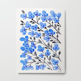 Cherry Blossoms – Blue Palette Metal Print