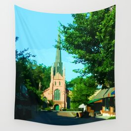 Digital Painting of the Trinity Eposcipal Church in Abbeville Wall Tapestry