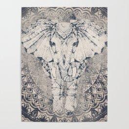 Indian Elephant Mandala Poster