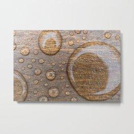Water Drops on Wood 3 Metal Print
