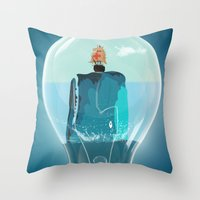 the whale Throw Pillows featuring Whale by mark ashkenazi