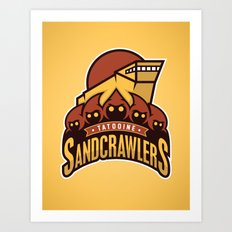 Tatooine SandCrawlers - Gold Art Print