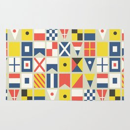 Geometric Nautical flag and pennant Rug