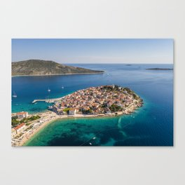 Aerial view of Primosten peninsula and old town in Croatia Canvas Print