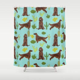 Irish Setter cactus southwest desert dog breed cute gift for dog lover pupper portrait pattern gifts Shower Curtain