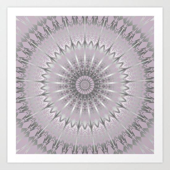 Mauve Silver Mandala Art Print