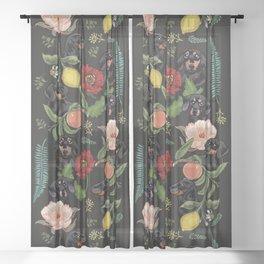Botanical and Black Dachshund Sheer Curtain