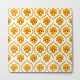 Ivory, Orange, Yellow and Brown Floral Retro Vintage Pattern Metal Print