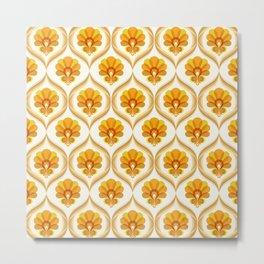 Ivory, Orange, Yellow and Brown Floral Retro Vintage Pattern Metal Print