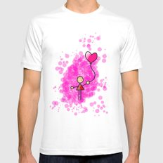 Heart White Mens Fitted Tee MEDIUM