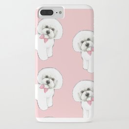 Bichon Frise pink bows christmas holiday themed pattern print pet friendly dog breed gifts iPhone Case
