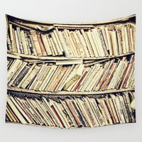 books Wall Tapestries featuring books by PureVintageLove