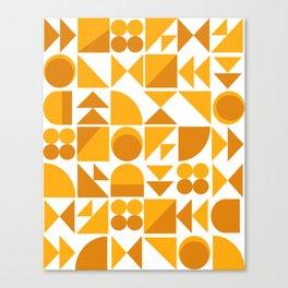 Mid Century Shape Art in Mustard Yellow Canvas Print