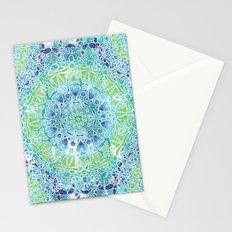Blue Greenery Tie-Dye Mandala Stationery Cards