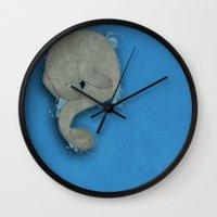 manatee Wall Clocks featuring Manatee by Acrosanti