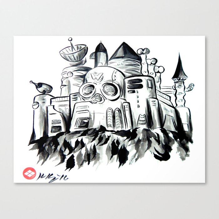 wily castle japanese sumi e painting canvas print by knappink