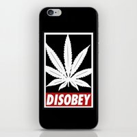 cannabis iPhone & iPod Skins featuring Cannabis Disobey by Spyck