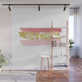 Stay Classy Blush Stripes - White Wall Mural