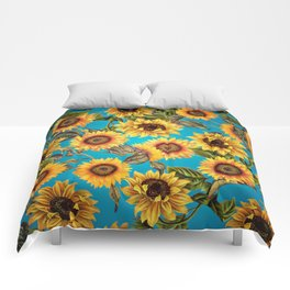 Vintage & Shabby Chic - Sunflowers on Teal Comforters