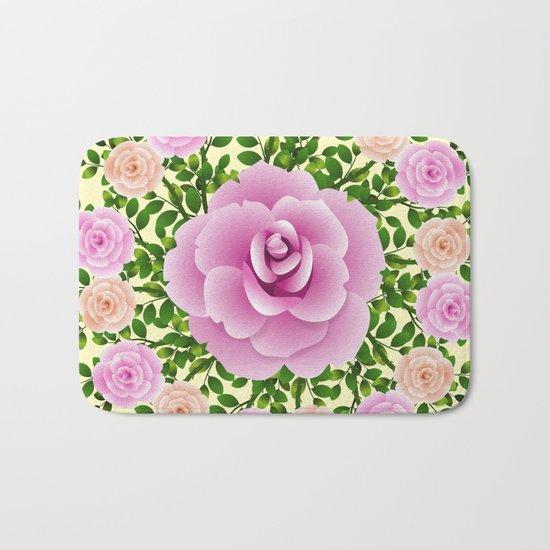 Pink Roses On Yellow Design Bath Mat