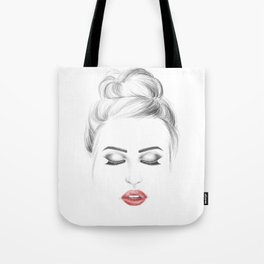 Minimalist fashion illustration model face Tote Bag