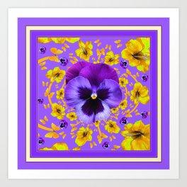 LILAC PANSIES YELLOW BUTTERFLIES & FLOWERS Art Print