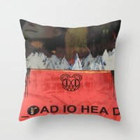 radiohead Throw Pillows featuring Radiohead 20 by W. Keith Patrick