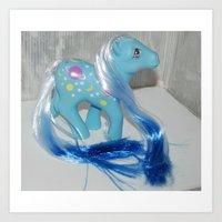 Night Glider rehaired gradient dyed hair my little pony vintage g1  Art Print