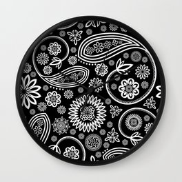 Oriental Persian Paisley, Dots - Black White Wall Clock