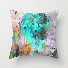 Hand painted teal orange black watercolor Throw Pillow