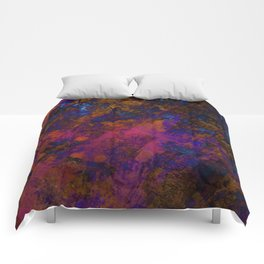 Day Dreaming - Abstract, metallic, textured, paint splatter style artwork Comforters
