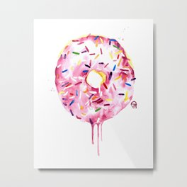 "Donut / Doughnut Watercolor Painting ""Oh Doughnuts"" Metal Print"