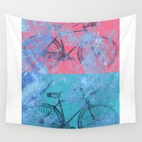 bikes Wall Tapestries featuring My colorful bikes by Fernando Vieira