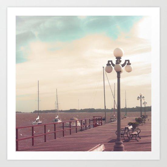 Harbor  (Vintage and Retro Photography)  Art Print