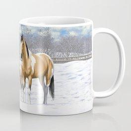 Buckskin Pinto Paint Quarter Horses In Snow Coffee Mug