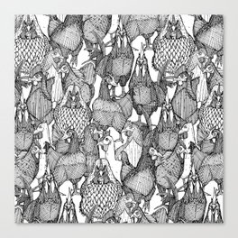 just chickens black white Canvas Print